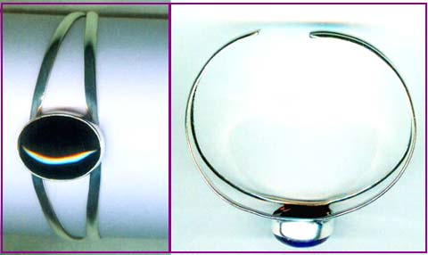 Silver wholesale gem stone bangle collection-w8bb001