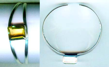 Silver wholesale gem stone bangle collection-w8bb016