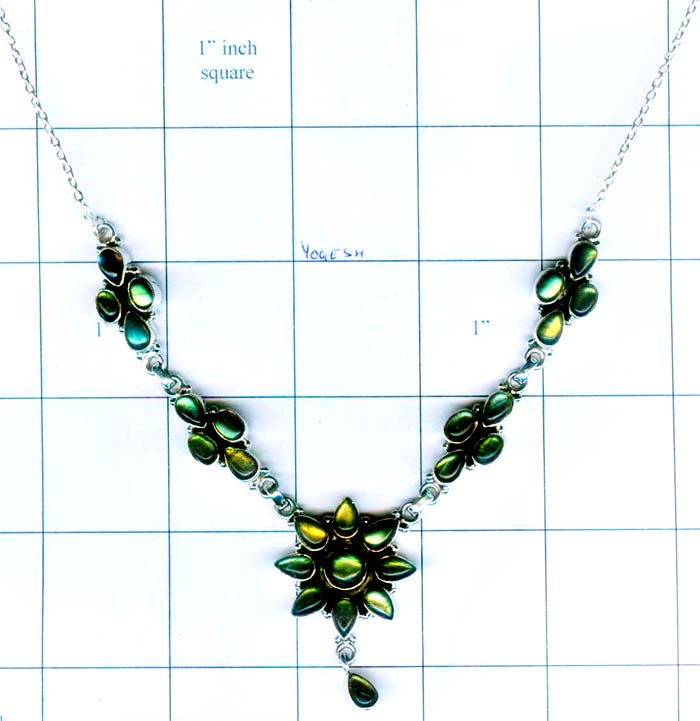 Silver gem stone necklace collection-w8n003