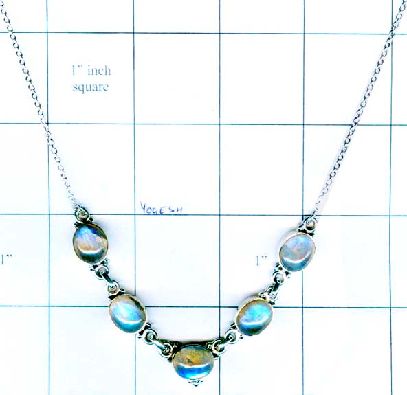 Silver gem stone necklace collection-w8n006