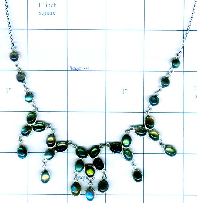 Silver gem stone necklace collection-w8n017