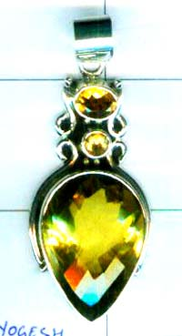 Gem stone and Silver Pendant-w9p069