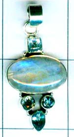 Gem stone and Silver Pendant-w9p105