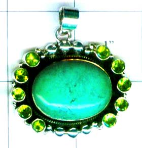 Gem stone and Silver Pendant-w9p113