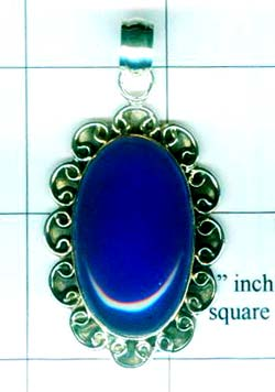 Gem stone and Silver Pendant-w9p154