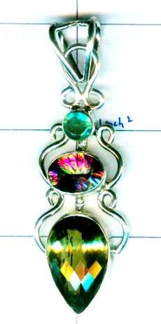 Green Amethyst with Mistic Quartz pendant- w9p165