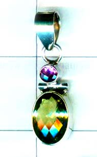 Beautiful silver 92.5 exclusive faceted pendant- w9p169