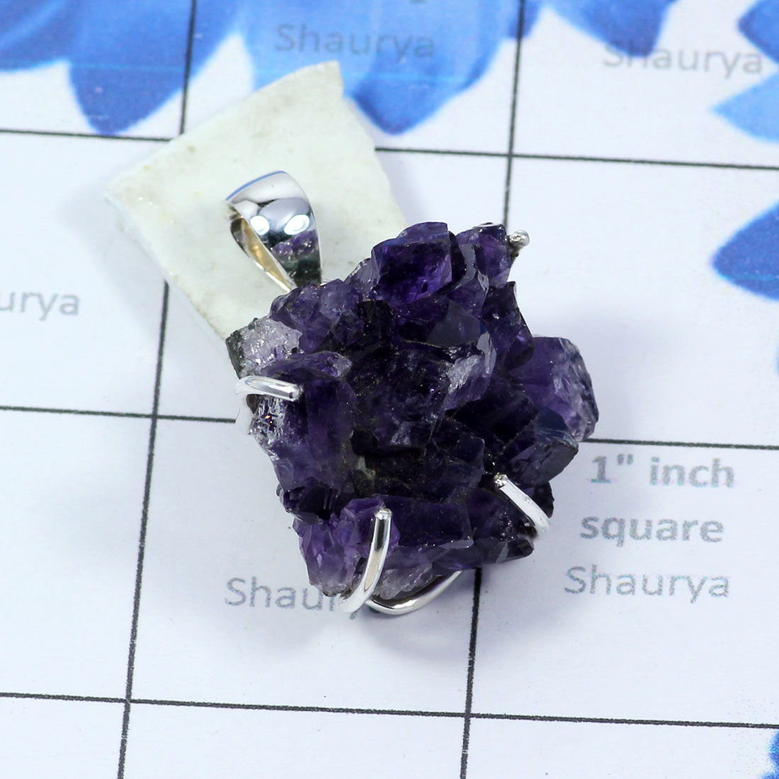 AMS999-Wholesale Amethyst Druzy Gemstone With 925 Sterling Silver