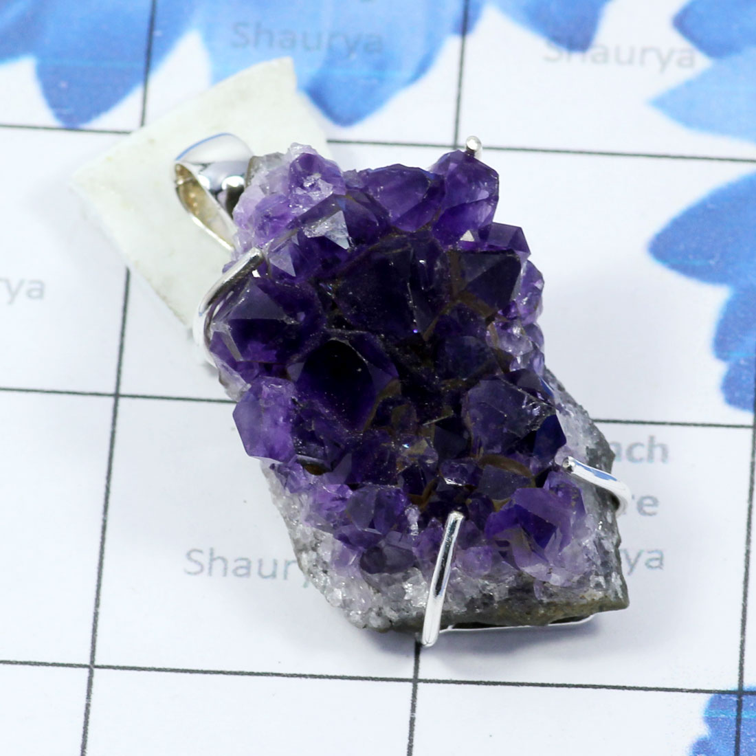 AMS998-Amethyst Druzy Gemstone With 925 Sterling Silver Wholesale Direct Factory Made
