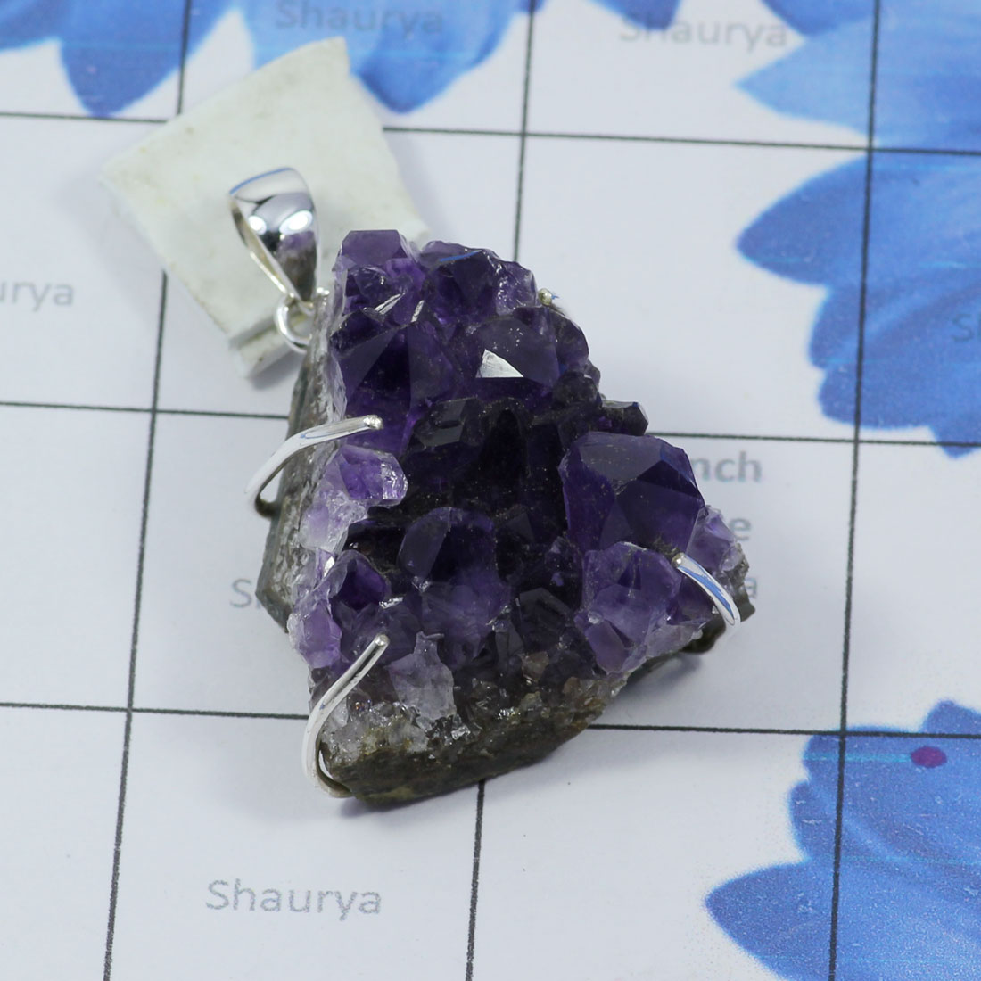 AMS997-925 Sterling Silver Wholesale Amethyst Druzy Gemstone Direct Factory Made Beautiful Pendant