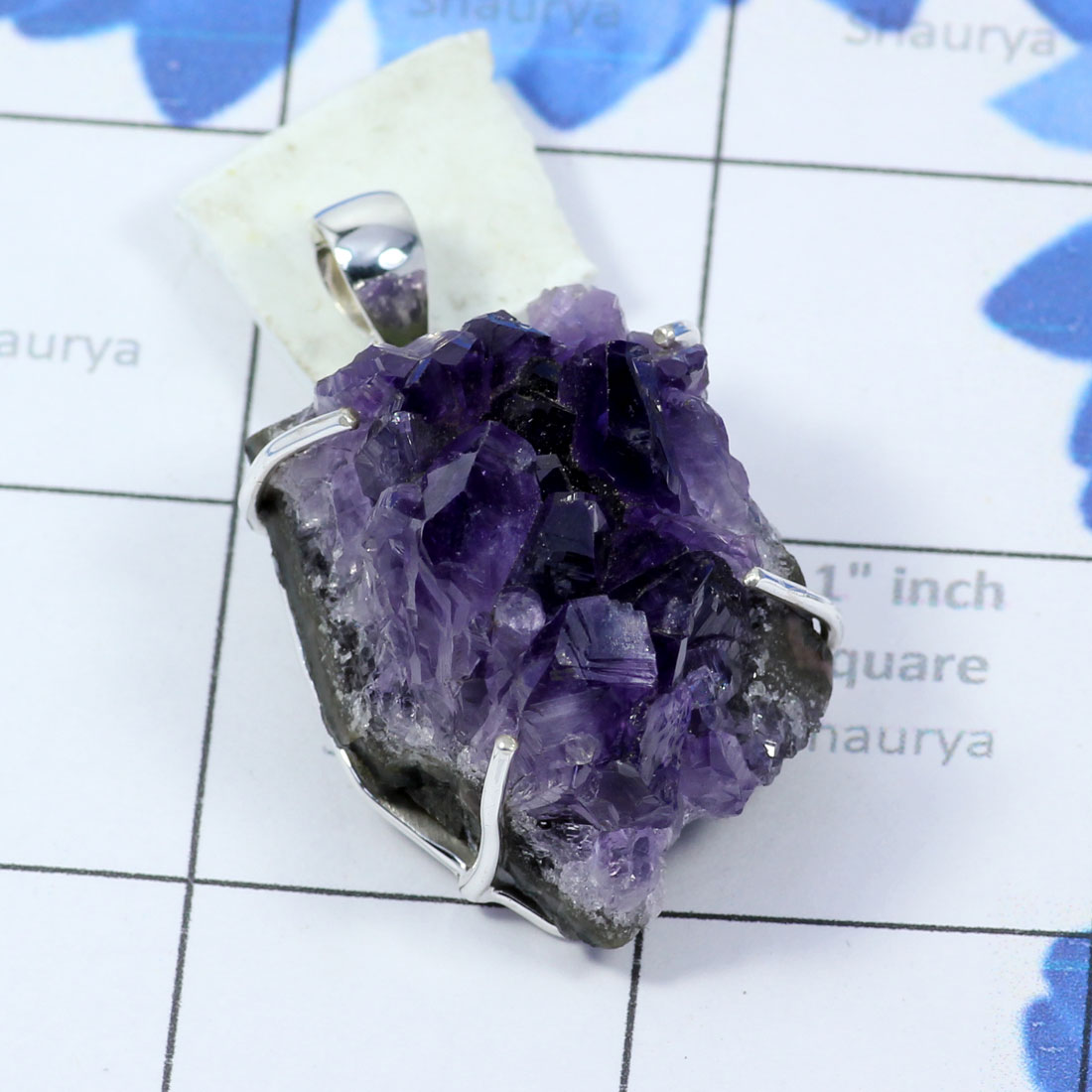 AMS994-Wholesale Made In 925 Sterling Silver Amethyst Druzy Gemstone Beautiful Pendant