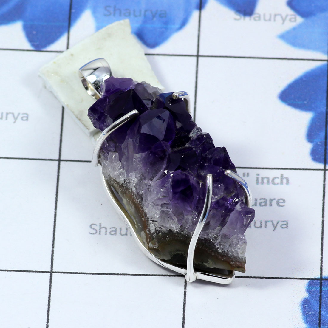AMS993-Beautiful Pendant Amethyst Druzy Gemstone With 925 Sterling Silver Wholesale