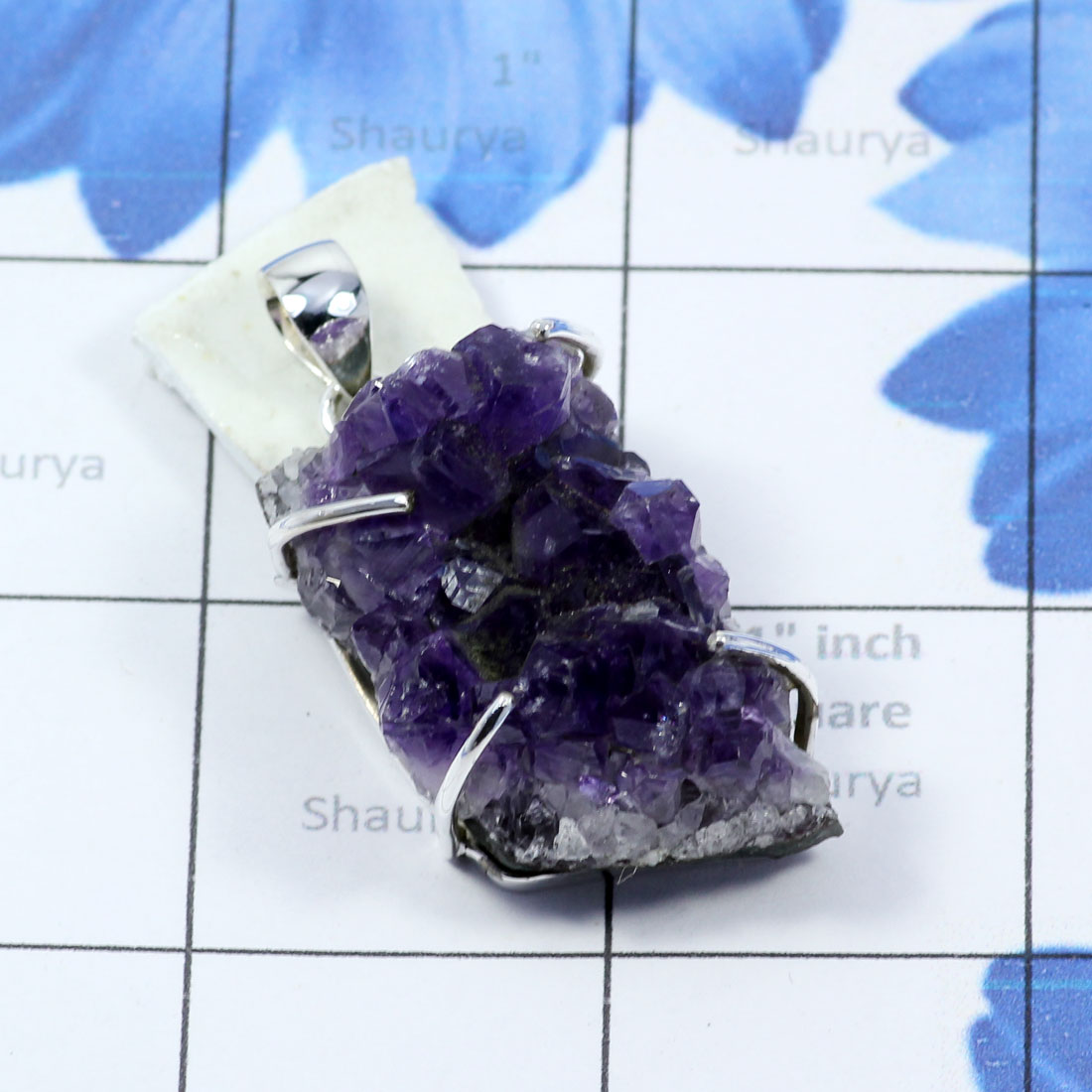 AMS992-Amethyst Druzy Gemstone Made In 925 Sterling Silver Wholesale Beautiful Pendant