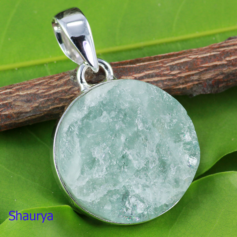 AQR978-Natural Aquamarine Rough Gemstone Pendant With 925 Sterling Silver Wholesale