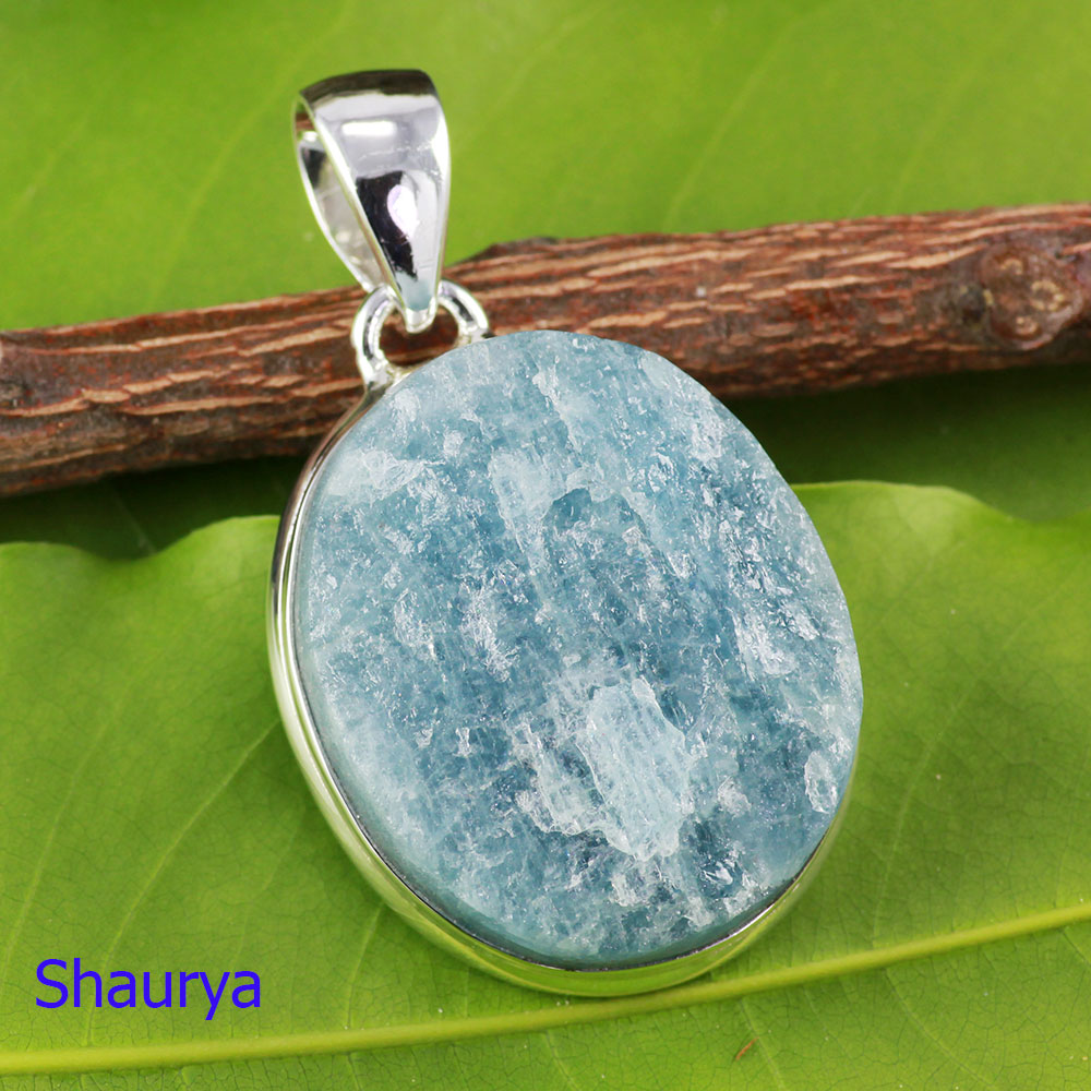 AQR977-925 Sterling Silver Wholesale Natural Aquamarine Rough Gemstone Pendant