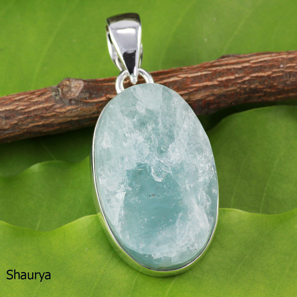 AQR976-Wholesale 925 Sterling Silver Natural Aquamarine Rough Gemstone Pendant