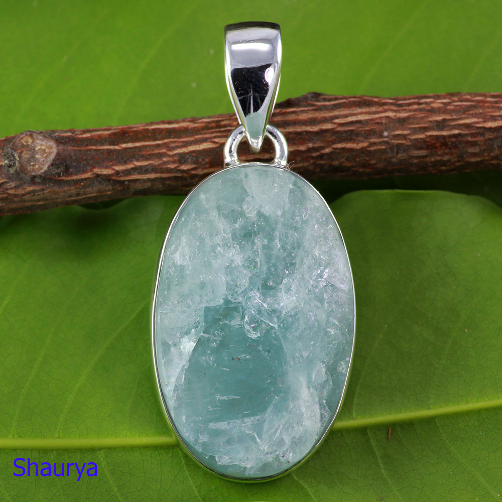 AQR974-Handmade Natural Aquamarine Rough Gemstone Pendant Wholesale With 925 Sterling Silver