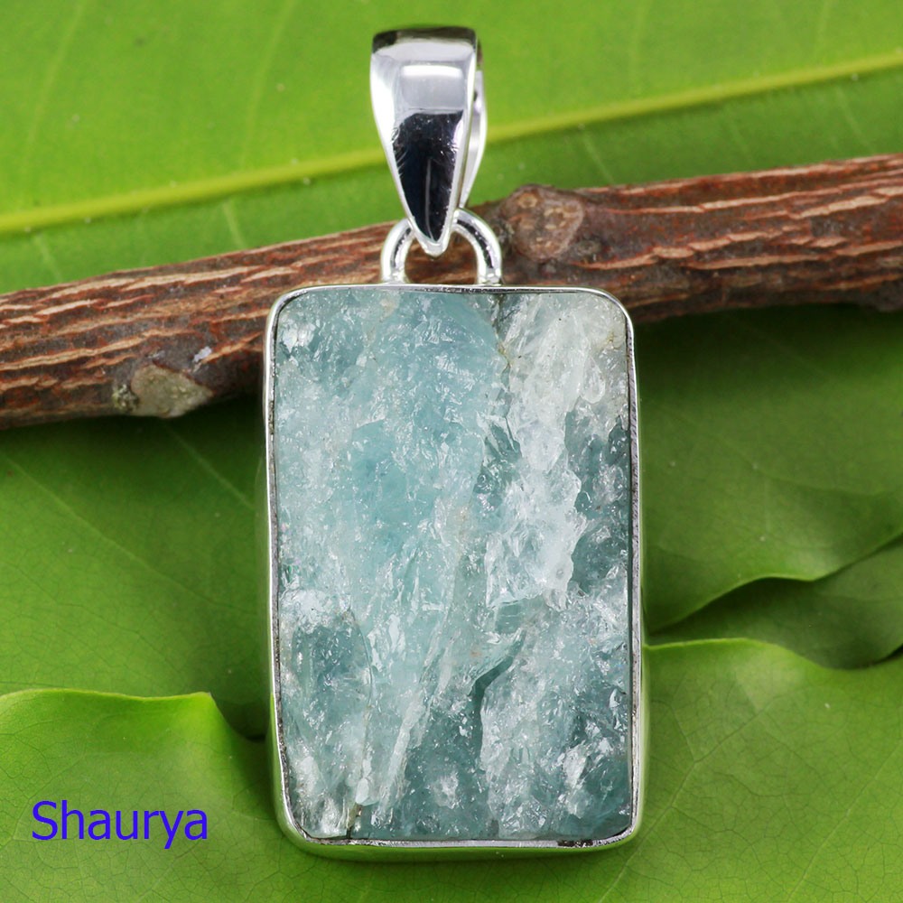 AQR973-Wholesale 925 Sterling Silver Handmade Natural Aquamarine Rough Gemstone Pendant