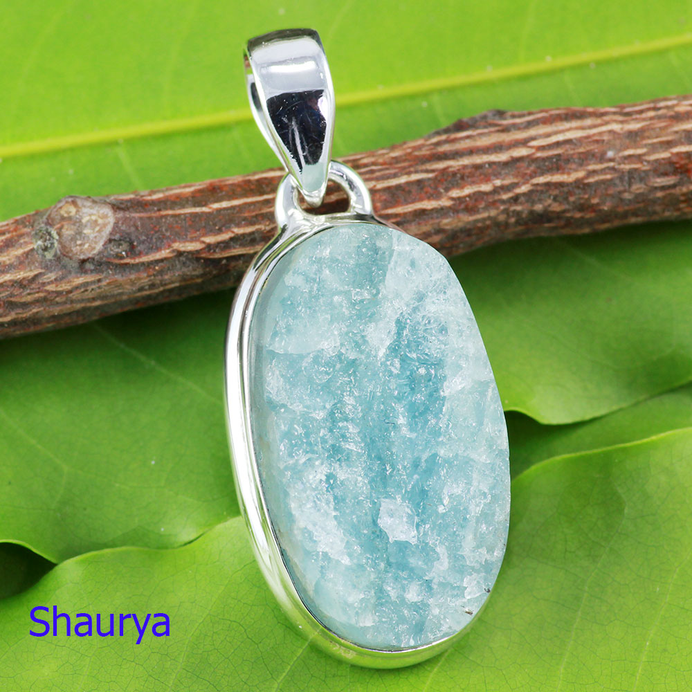 AQR981-Plain Setting Pendant With 925 Sterling Silver Aquamarine Rough Gemstone Handmade