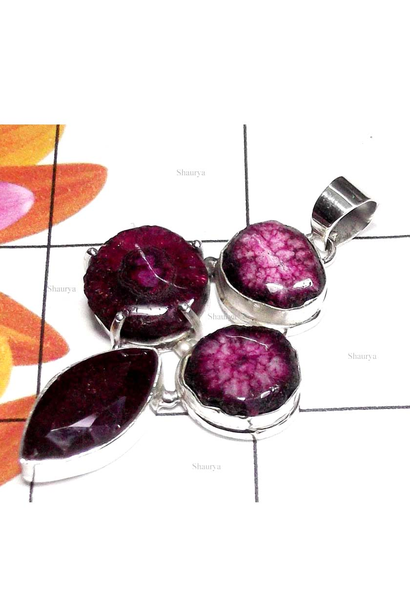 Semiprecious gems with 925 silver Pendant-BHP017