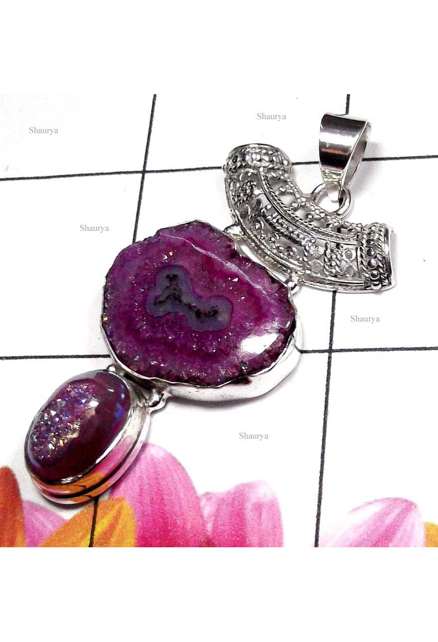 Stalactites gems with 925 silver Pendant-BHP024
