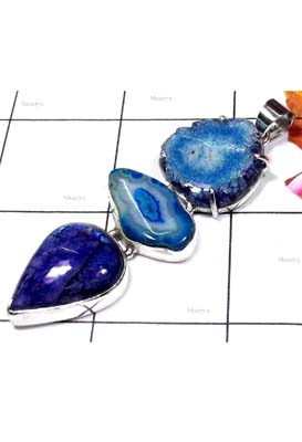Sterling silver with color gems Stalactites Drusy Pendant-BHP028