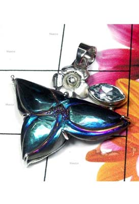 Sterling silver carving Titanium Drusy Pendant-BHP033