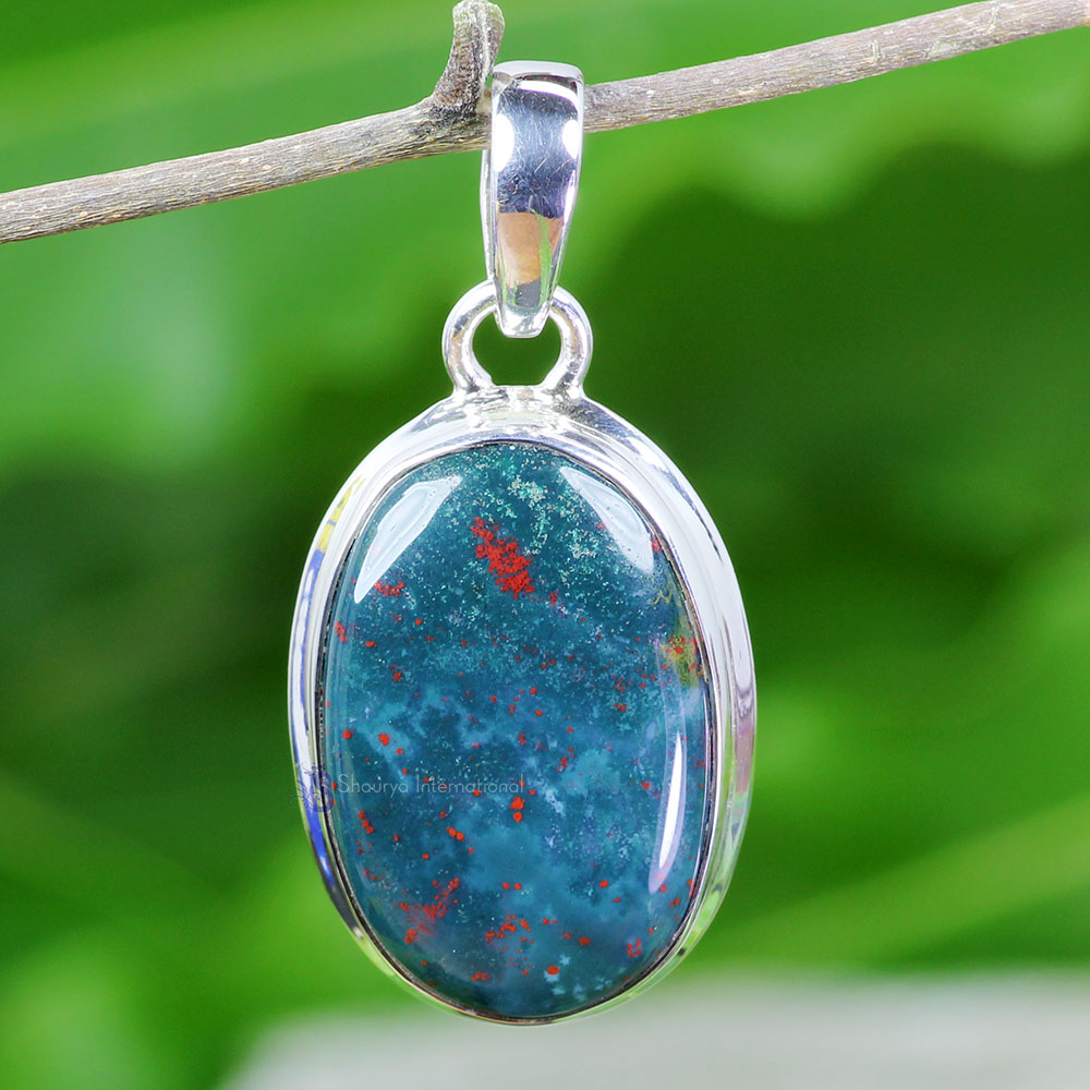 BLD998-Handmade Plain Setting Pendant Blood Agate Gemstone Made In 925 Sterling Silver
