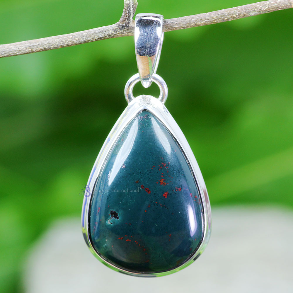 BLD997-925 Sterling Silver Plain Setting Pendant Blood Agate Gemstone Wholesale