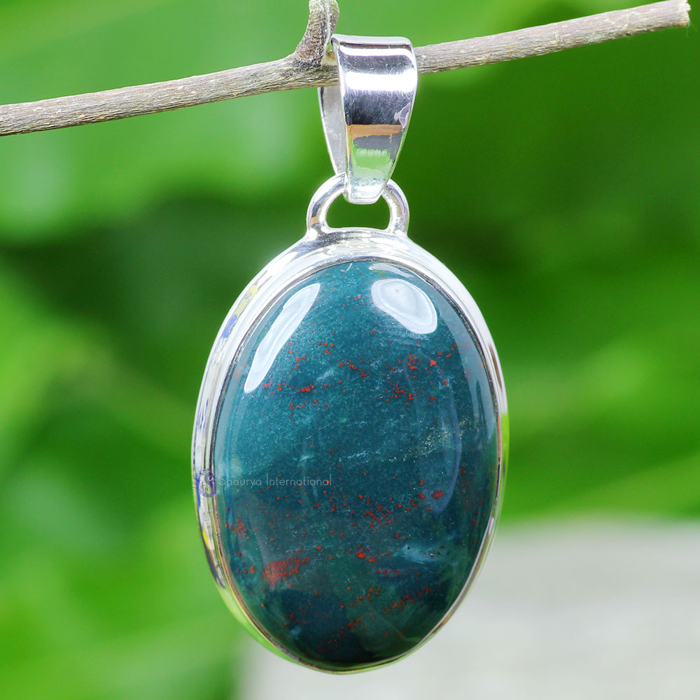 BLD996-Plain Setting Pendant With Blood Agate Gemstone Wholesale Made In 925 Sterling Silver