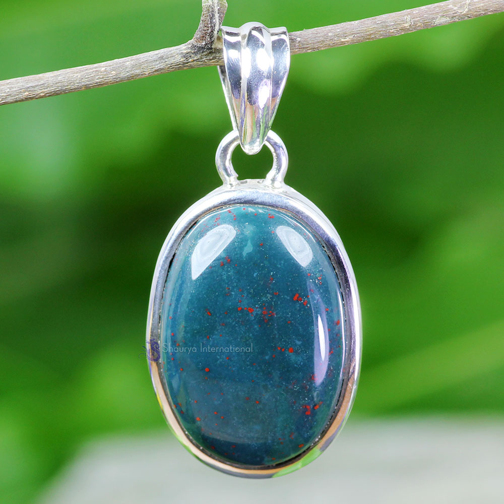 BLD995-Blood Agate Gemstone Wholesale With 925 Sterling Silver Plain Setting Pendant