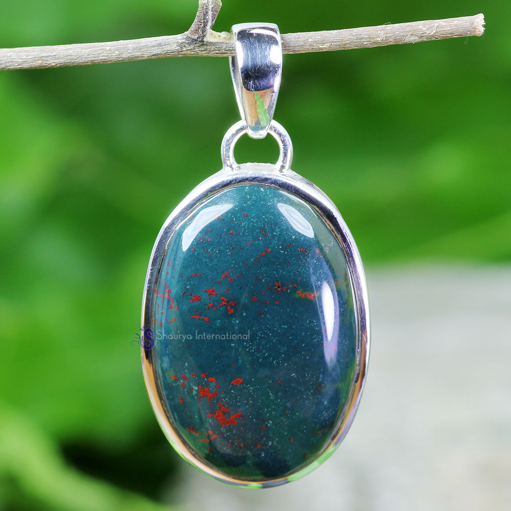 BLD988-925 Sterling Silver Handmade Beautiful Plain Setting Pendant Natural Blood Agate Gemstone Wholesale