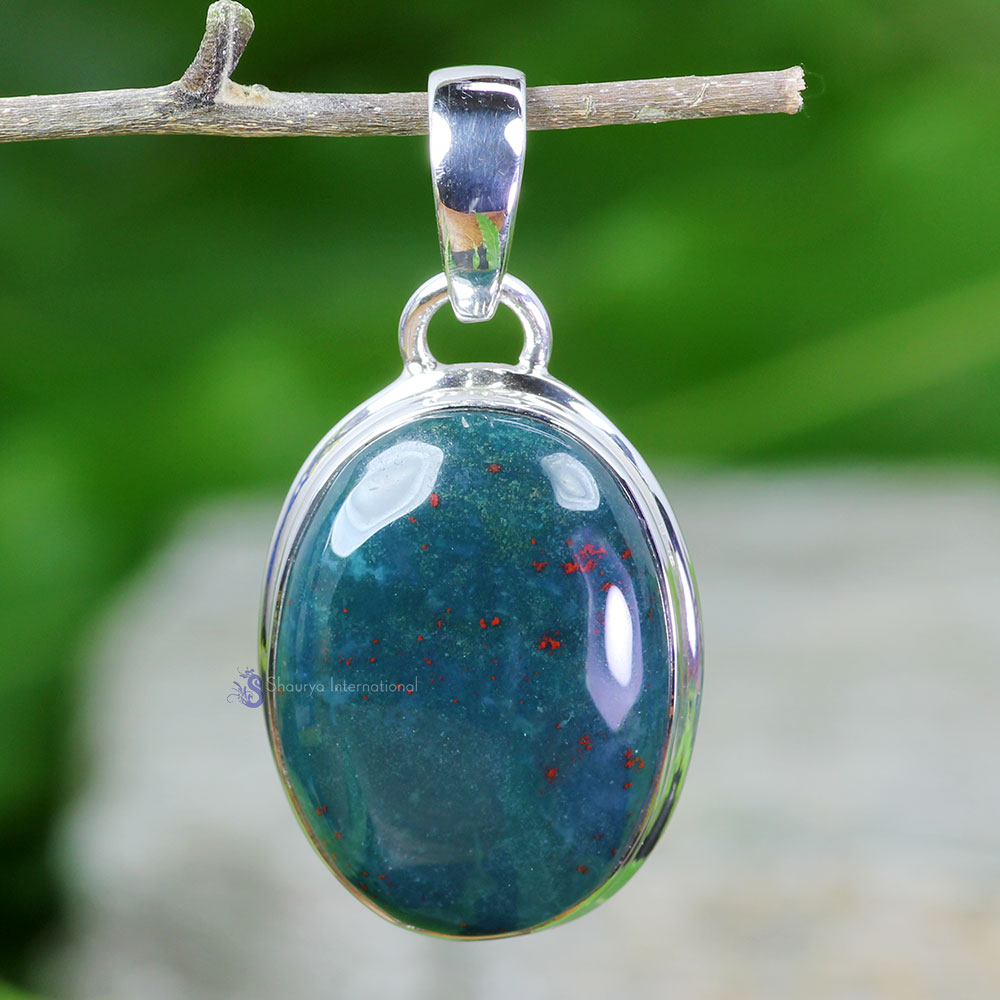 BLD986-Natural Blood Agate Gemstone Wholesale With 925 Sterling Silver Handmade Beautiful Plain Setting Pendant
