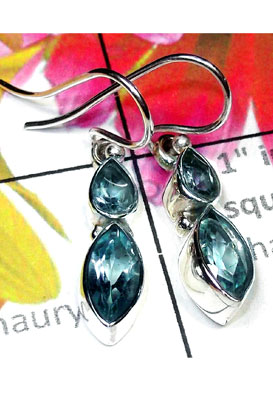 Classic silver Blue Topaz Earring-BTE011
