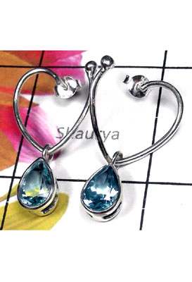 Exclusive Blue Topaz silver Earring-BTE013