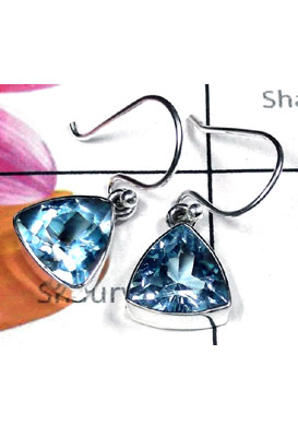 Sterling silver Triangle gems Earring-BTE022