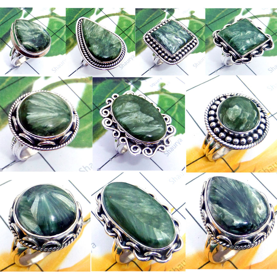 CBP975-10 Pcs. Green Colour Seraphinite  Gemstone  925 Sterling Silver Wholesale Rings