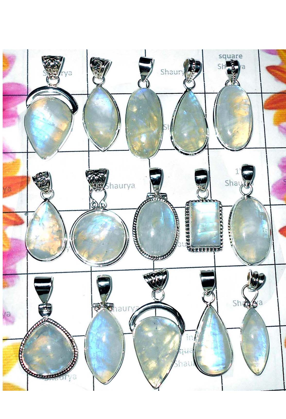 CBSP001- 50 Pcs Assorted Blue fire Rainbow moonstone Pendants