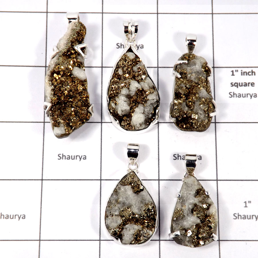 CBP891-5 Pcs. Pyrite Druzy Wholesale Lot Pendants 925 Sterling Silver