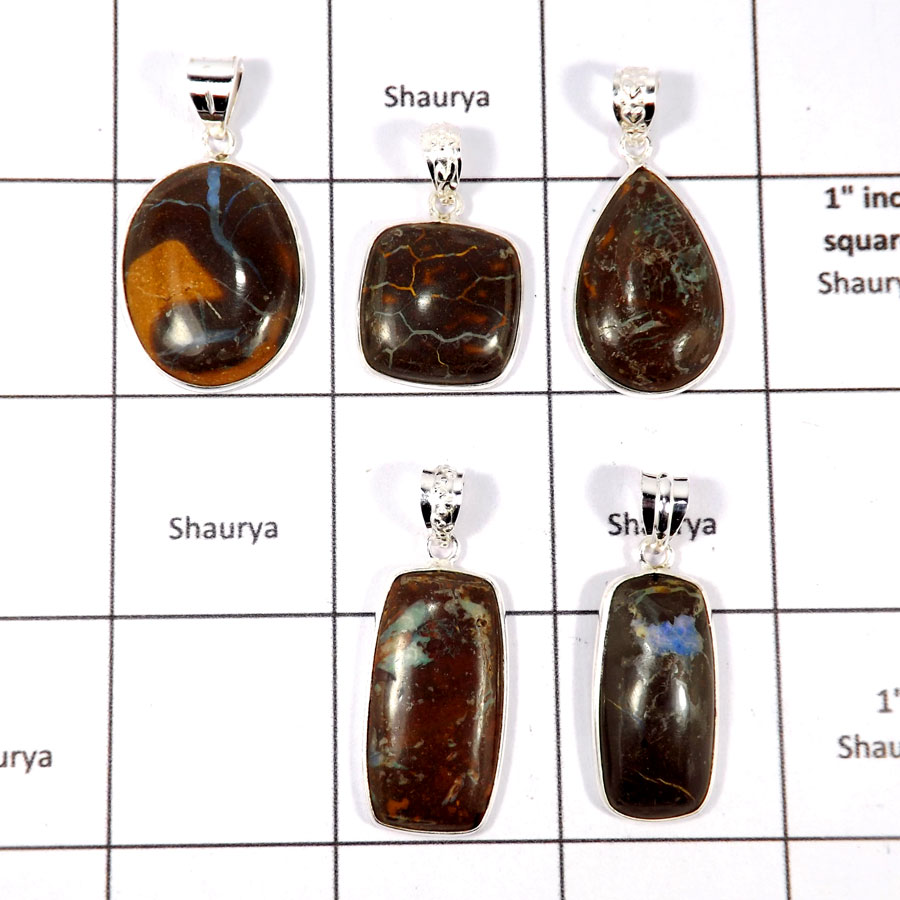 CBP893-5 Pcs. Boulder Opal Gemstone Handmade Wholesale Bezel Pendants 925 Sterling Silver