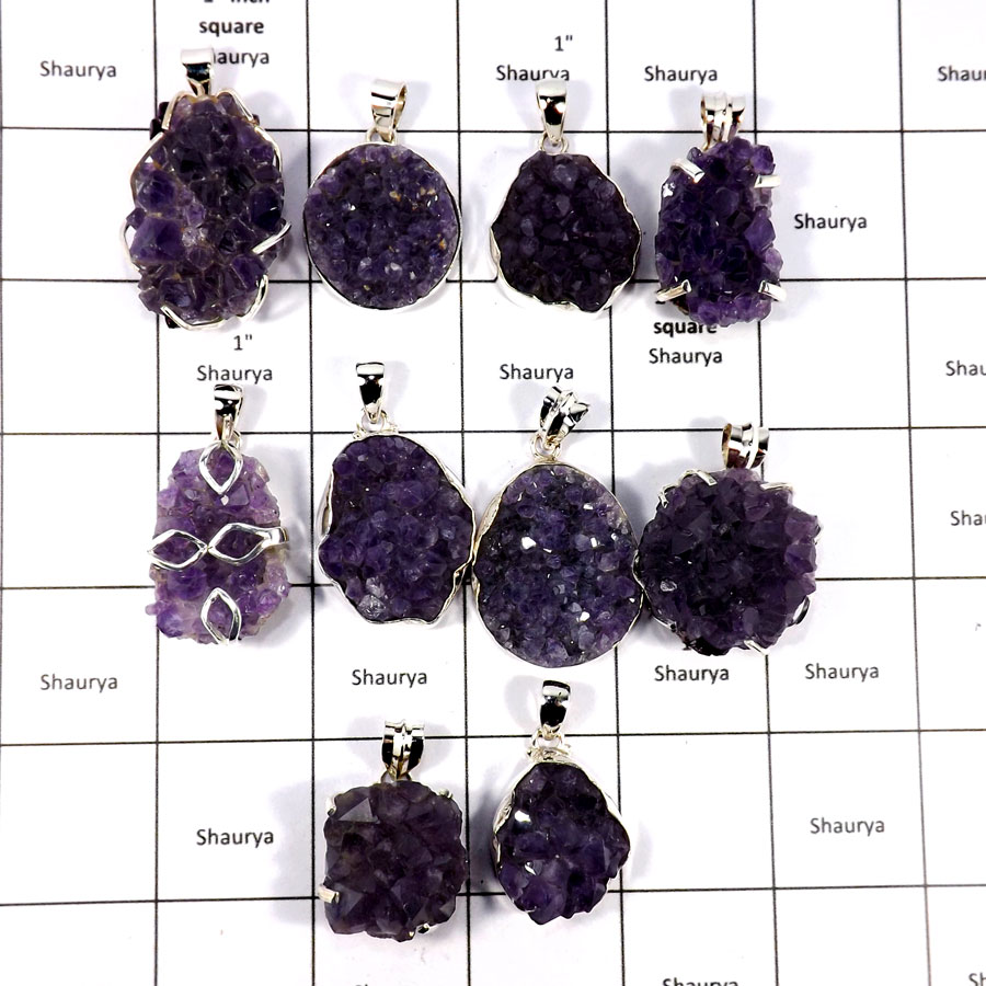 CBP895-10 Pcs. Color Ful Amethyst Druzy Beautiful Pendants 925 Sterling Silver