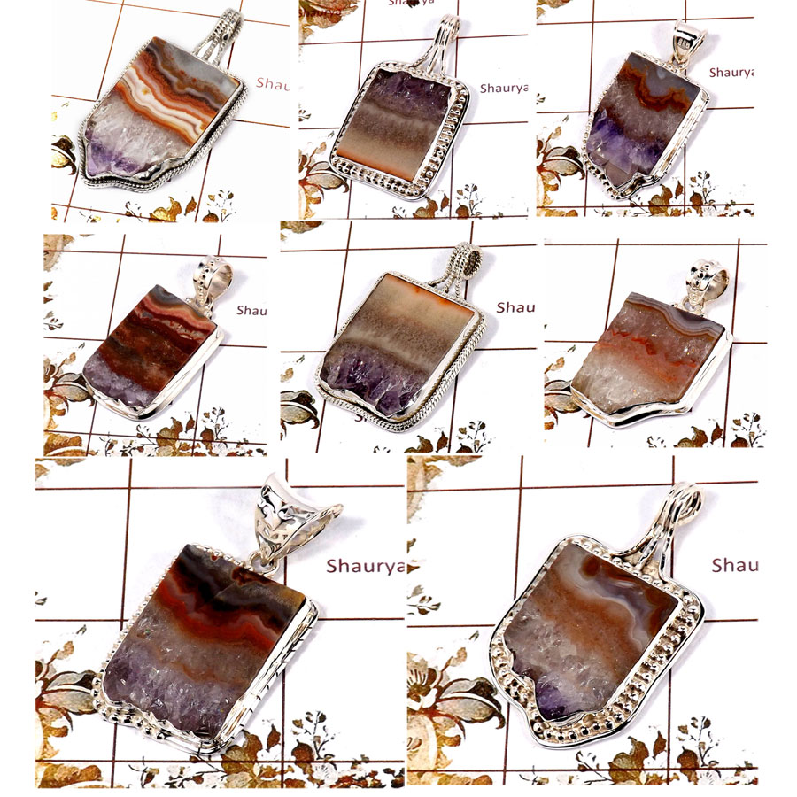 CBP898-8 Pcs. Exclusive Amethyst Slice 925 Sterling Silver Wholesale Pendants