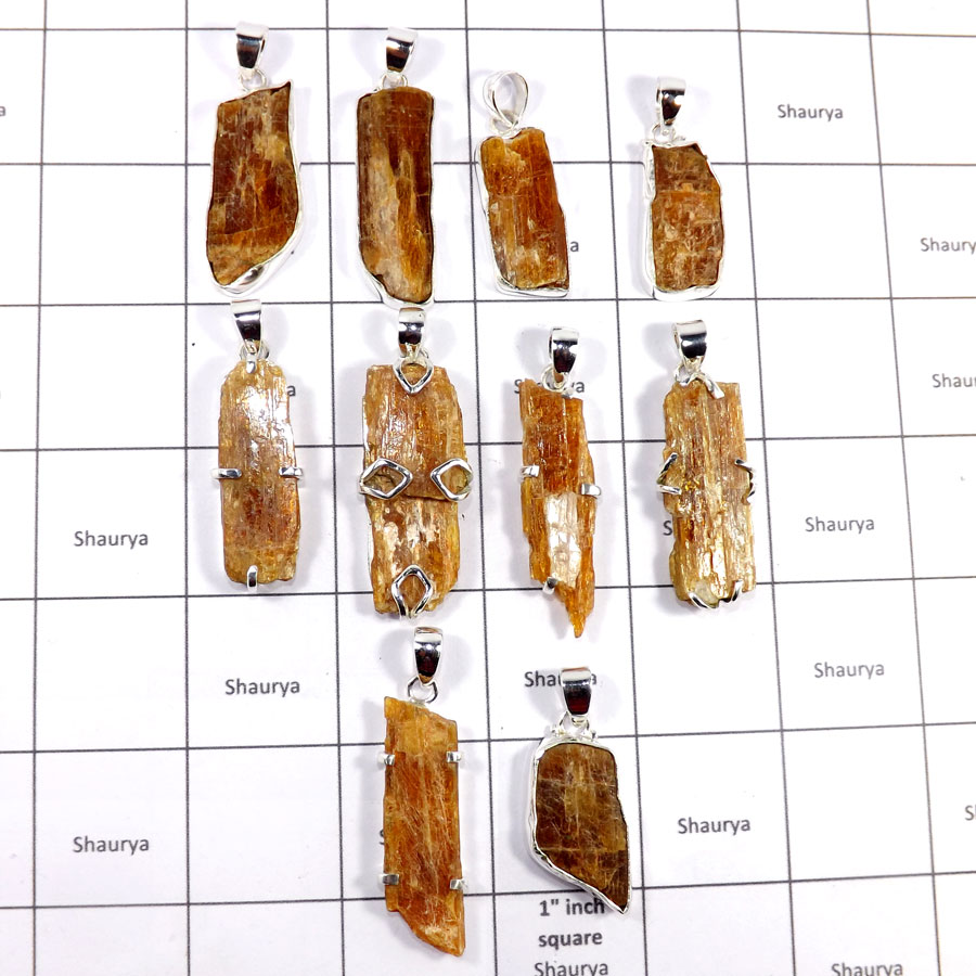 CBP916-10 Pcs. Orange Kyanite Gemstone Wholesale Lot Pendants 925 Sterling Silver