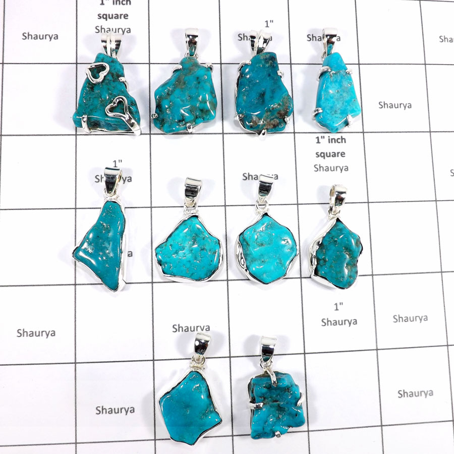 CBP945-10 Pcs. Factory Wholesale Arizona Sleeping Beauty Turquoise 925 Sterling Silver Wholesale Pendants