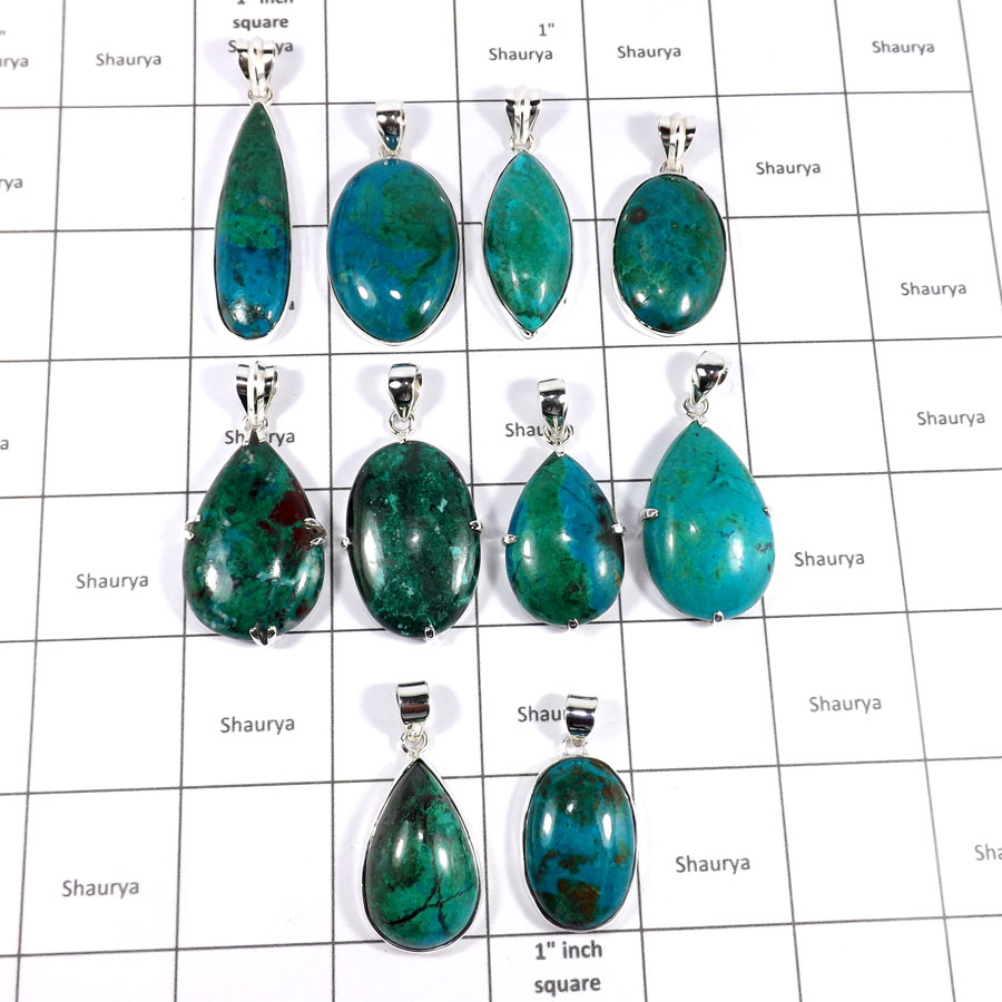 CBP946-10 Pcs. Marvellous Crysocola Gemstone Company Handmade Pendants 925 Sterling Silver