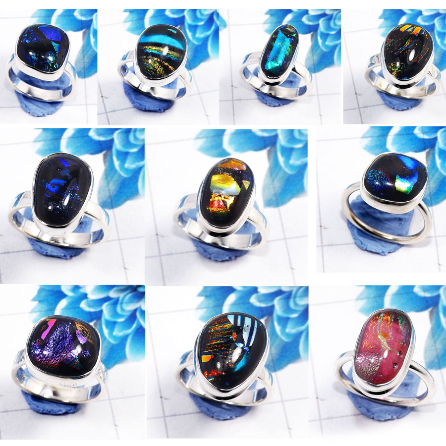 CBP959-10 Pcs. Dichroic Glass Gemstone 925 Sterling Silver Wholesale Rings