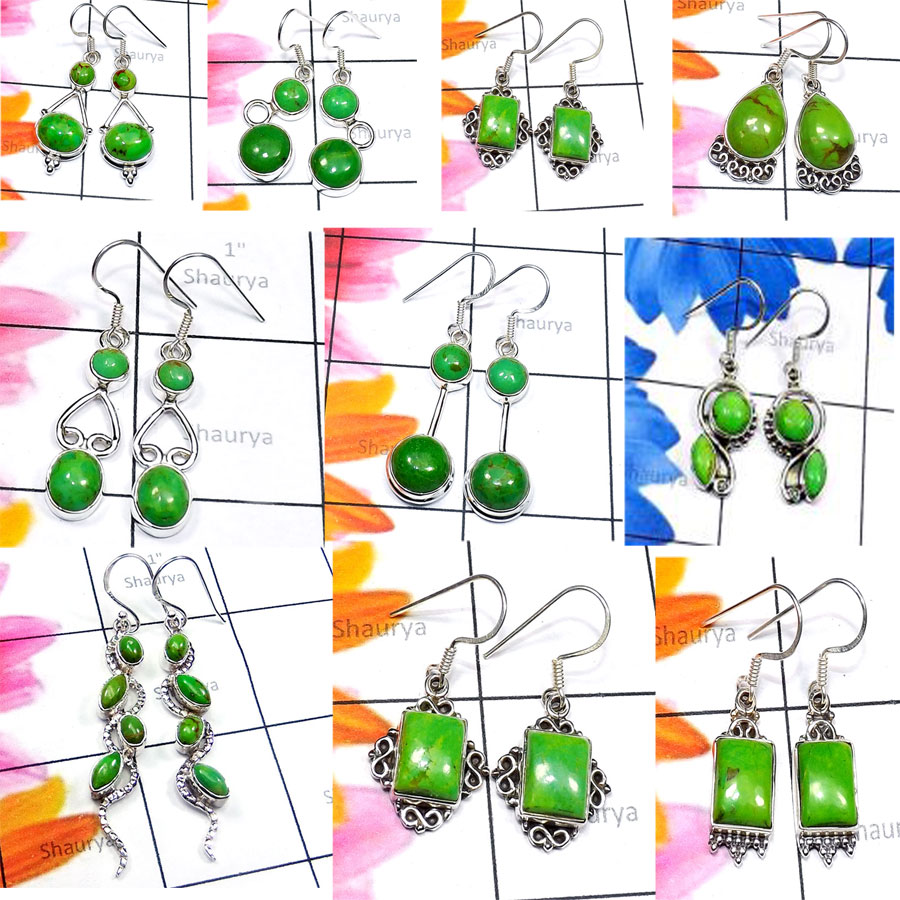 CBP963-10 Pcs. Green Turquoise Gemstone 925 Sterling Silver Handmade Wholesale Earrings