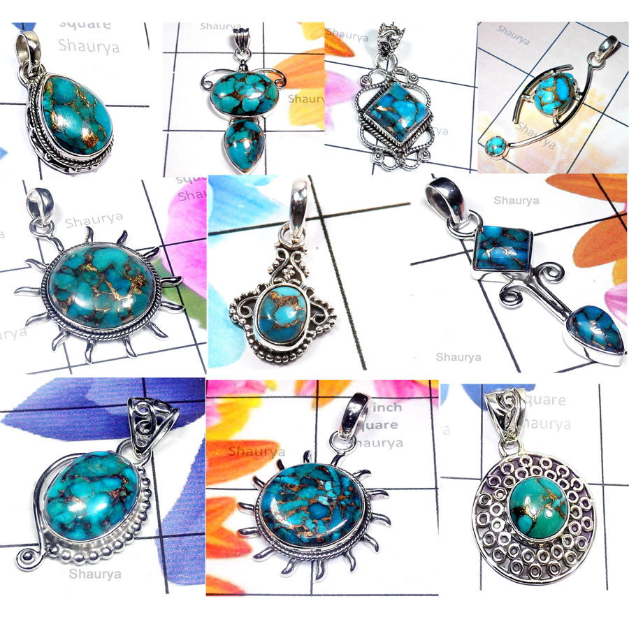 CBP966-10 Pcs. Blue Copper Turquoise Gemstone 925 Sterling Silver Designer Wholesale Pendants