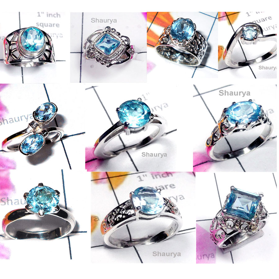 CBP967-10 Pcs. Gorgeous Gemstone Blue Topaz  925 Sterling Silver Designer Casting Rings
