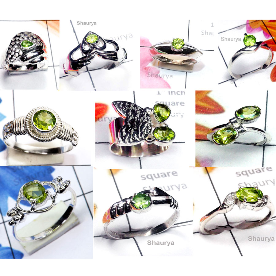 CBP968-10 Pcs. Parrot Colour Peridot Gemstone Designer Casting Rings